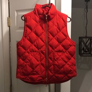 Red J.Crew Factory Quilted Puffer Vest